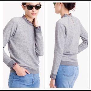 - J. Crew metallic ruffle neck sweatshirt